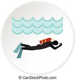 buceo, círculo, aqualanger, icono, traje