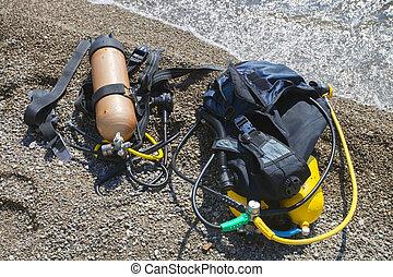 buceo, conjunto, equipment., escafandra autónoma