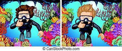 buceo, debajo, clavadistas, escafandra autónoma, océano
