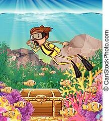 buceo, debajo, escafandra autónoma, hombre, océano