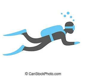 buceo, escafandra autónoma, ilustración