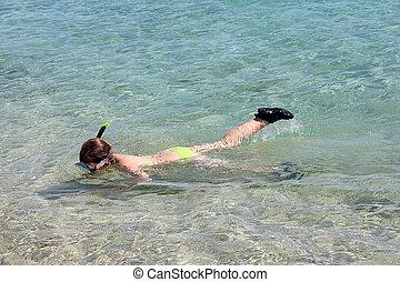 buceo, niña, joven, mar