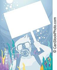 buceo, señal, submarino, piquete, hombre