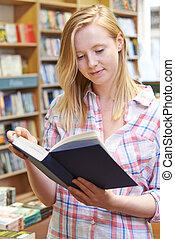 Buch, Buchhandlung, frau, junger, lesende