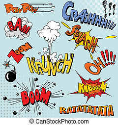 buch, explosion, komiker