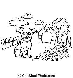 buch, färbung, hund, landscap