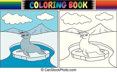 buch, färbung, karikatur, siegel