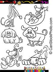 buch, färbung, satz, hunden, karikatur