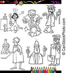 buch, färbung, satz, karikatur, wissenschaftler