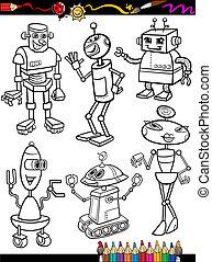 buch, färbung, satz, roboter, karikatur