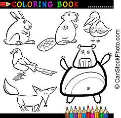 buch, färbung, tiere, oder, seite