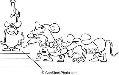 buch, ratte, färbung, karikatur, rennen