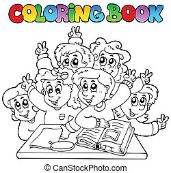 buch, schule, färbung, 3, karikaturen
