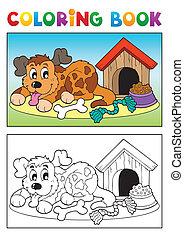 buch, thema, färbung, 3, hund