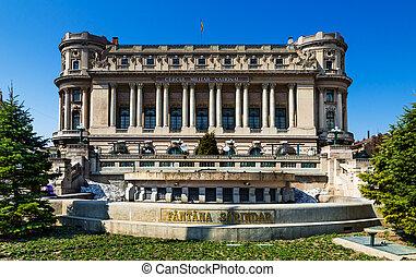 Bucharest, Army Palace and Sarindar fountain