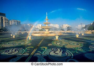 Bucharest central city fountain