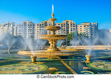 Bucharest central city fountain