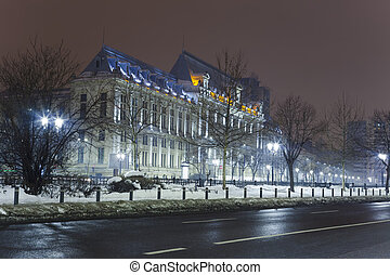 Bucharest city at night. Justice Palace