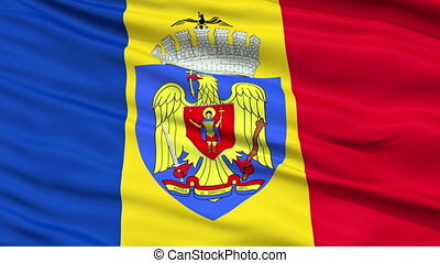 Bucharest City Close Up Waving Flag - Bucharest Capital City...