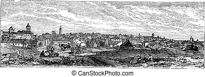 Bucharest, city, Romania, vintage engraving. - Bucharest, ...