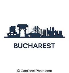Bucharest City Skyline - Abstract skyline of city Bucharest,...