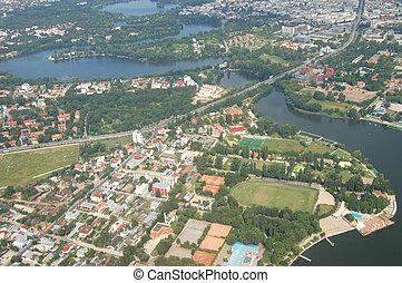 Bucharest from zeppelin - European cityscapes: Bucharest,...