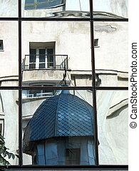 Bucharest in mirror, Romania, Eastern Europe