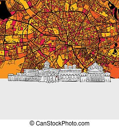 Bucharest, Romania, Skyline Map