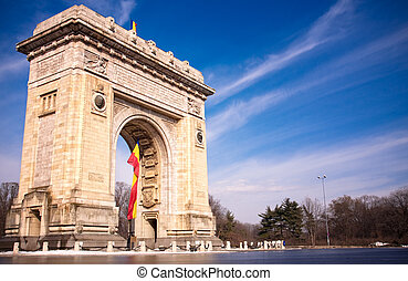 bucharest, rumania, arco, triunfo