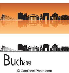Bucharest skyline in orange background in editable vector...