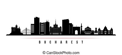 Bucharest skyline horizontal banner. Black and white silhouette of Bucharest, Romania. Vector template for your design.
