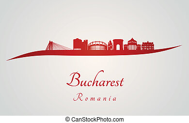 Bucharest skyline in red and gray background in editable...
