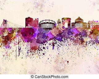 Bucharest skyline in watercolor background