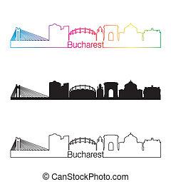 Bucharest skyline linear style with rainbow in editable vector file