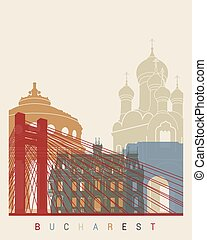 Bucharest skyline poster in editable vector file