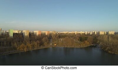 Bucharest Skyline View From A Drone - Aerial view of...