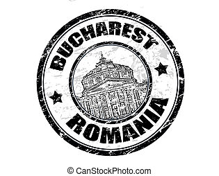 Grunge rubber stamp with the athenaeum shape and the name Bucharest written inside the stamp