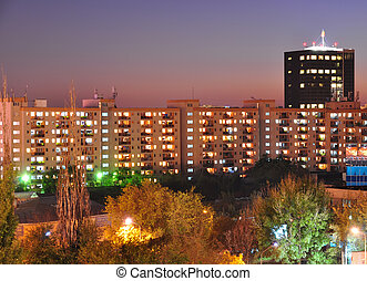 Bucharest town at dusk