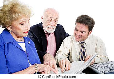 buchhalter, mit, älter, klienten