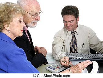 buchhaltung, älter, -, finanzen, reihe