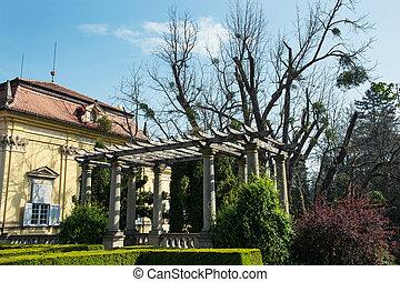 buchlovice, castillo, con, jardines, en, primavera