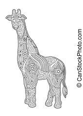 buchseite, giraffe, färbung, kunst, karikatur
