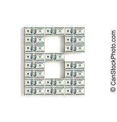 buchstabe b, gemacht, von, dollar.