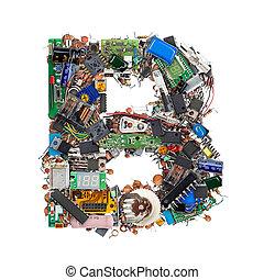 buchstabe b, gemacht, von, elektronisch, komponenten