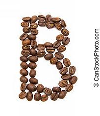 buchstabe b, gemacht, von, gebraten, kaffeebohnen