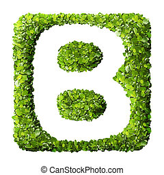 buchstabe b, gemacht, von, grüne blätter