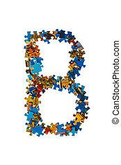 buchstabe b, gemacht, von, puzzlesteine