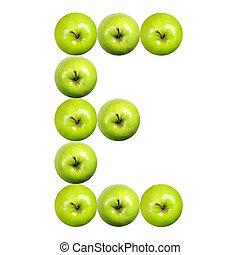 buchstabe e, gemacht, von, äpfel