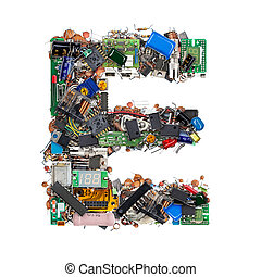 buchstabe e, gemacht, von, elektronisch, komponenten