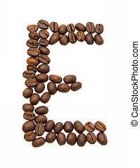buchstabe e, gemacht, von, gebraten, kaffeebohnen